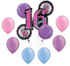SWEET 16 16th Sixteen NEON Pink Purple Blue Party 11 Mylar Balloons Bouquet Set