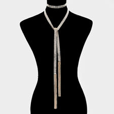 HOT Celeb Gold Crystal  Choker Long Multi Way Necklace Belt  By Rocks Boutique