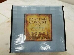Egyptian Comfort 1200 Damask Stripe King Size Sheet Set, Light Blue