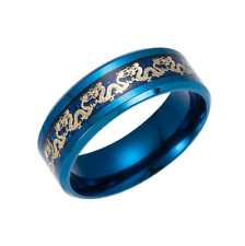 Hot Blue Black Dragon Stainless Steel Men Wedding Rings Cool Band Ring Size 6-13