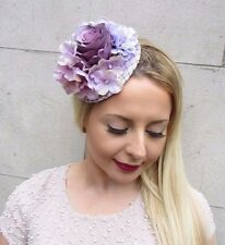 Lilac Light Purple Hydrangea Flower Fascinator Hat Headpiece Hair Clip Vtg 2669