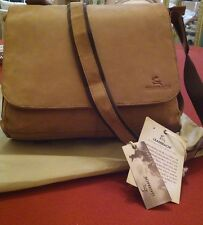 Leaderachi Adult 100% Pure Genuine Leather Messenger bag. Beige/New