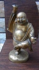 """ANTIQUE CHINESE  BRONZE KUNG FU BUDDHA  STATUE , 13""""H DRILLED FOR LAMP"""