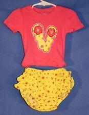 Children's Place Little Girl's 2 Piece Flip Flop Shirt & Ruffle Shorts 12-18 M