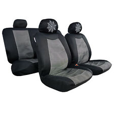 New 9pcs Embroidery Mesh Car Seat Covers Gray Black For Hilux Dual Cab sr sr5