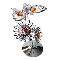 Crystocraft Butterfly & Flowers Crystal Ornament Swarovski Elements Gift Boxed