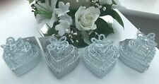 4 X UNUSUAL GORGEOUS WHITE 3 TIER WEDDING CAKE FAVOURS FAVORS WIRE BOX BNWT SALE