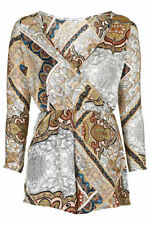 V Neck Paisley Long Sleeve Jumpsuits & Playsuits for Women