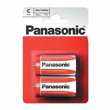 Panasonic C Size Heavy Duty Genuine Zinc Carbon R14 1.5V Batteries pack of 2