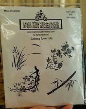 CHINESE FLOWERS Local King Rubber Stamp Set BAMBOO Plum Cherry Blossoms Garden