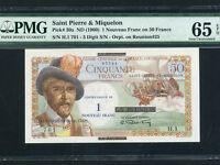 Saint Pierre & Miquelon:P-30a,1 New Fr. on 50 Fr.,1960 * PMG Gem UNC 65 EPQ *