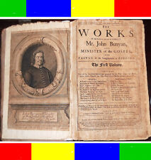 1692 Antique THE WORKS OF JOHN BUNYAN + MAP 1st-Ed Holy Bible Baptist Puritan