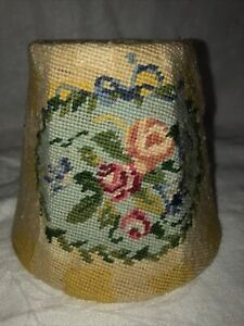 """HANDMADE NEEDLEPOINT TAPESTRY LAMPSHADE CLIP ON BULB FITTING 4.5"""" TALL"""