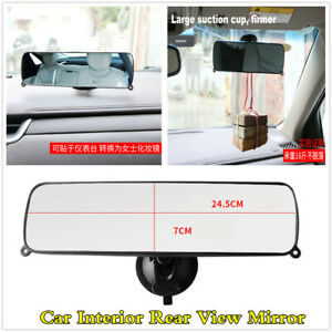 Car Interior Rear View Mirror Suction Cup Rearview Anti-glare Wide Flat Mirror