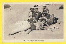 cpa FRANCE Jeune Femme BAIN de SOLEIL sur la PLAGE vers 1930