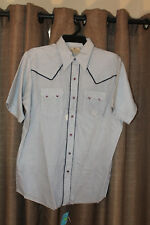 Men's Dee Cee Brand Blue Short Sleeve Western Shirt W/ Pearl Buttons Size 16.5
