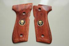 Beretta 92F 92FS 96 Full Size Checkered Wood Grips Punisher Skull Nice Gift # 6