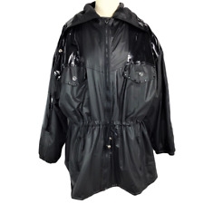 VTG Downtown Ken Sporn For Wippette Womens XL Raincoat Relaxed Zip Up Black
