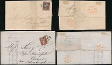 IRELAND to SCOTLAND 1845 PENNY RED IMPERFS...DUBLIN to CURRIE...2 COVERS