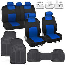 9 Pc Sporty Mesh Cloth Blue / Black Seat Cover and 3 Pc Solid Black Rubber Mats
