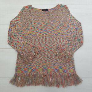 LINEA Fine Knit Pullover Jumper Size L UK 14 Multi Fringe Stretch Long Sleeve