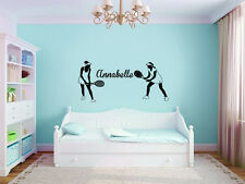 Vinyl Wall Decal Sticker Bedroom tennis girl custom name game sport ball r1662