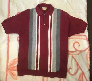 Vintage 1950's BRENT Sweater Shirt Stripe M Virgin Orlon Acrylic