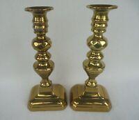 PAIR OF ANTIQUE BRASS  DIAMOND CANDLESTICKS