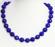 Natural 8mm blue Sapphire faceted round bead Gemstone necklace18'' PN642