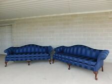 Thomasville Chippendale Style Camel Back Sofas - a Pair
