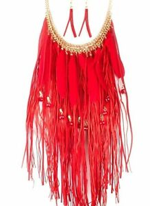 New Red Feather Suede Necklace & Earrings Fringe Set Women
