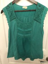 Anthropologie Meadow Rue Small Green Top Lace Eyelet