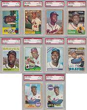 Hank Aaron Braves 10 Card Lot DECADE SET 1960-1969 Topps ALL PSA 6