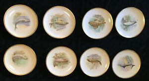 "Hutschen reuther  8"" Porcelain Plate - Bavaria Germany fish plate set"