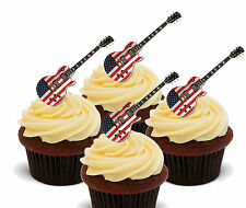 America USA Guitar, Edible Cup Cake Toppers Decorations American Stars & Stripes
