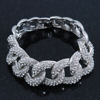 Glamorous Chunky Rhodium Plated Diamante Elements Crystal Encrusted Chain Link