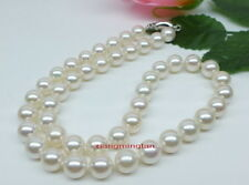 "AAAAA luster round 18""9-10mm REAL natural south sea white pearl necklace 14K"