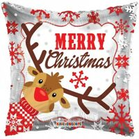 MERRY CHRISTMAS FOIL BALLOON PARTY DECORATION REINDEER RUDOLPH SNOWFLAKES 46CM