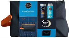 Nivea Men Active Wash Kit Travel Bag Shampoo, Shower Gel Gift Set and Creme