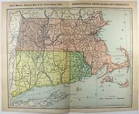 Original 1902 Railroad Map of Massachusetts, Connecticut & Rhode Island. Antique
