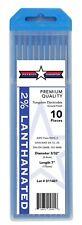 "10PK Welding Tungsten Electrodes 2% Lanthanated 3/32"" x 7"" (Blue) Quick-Ship"