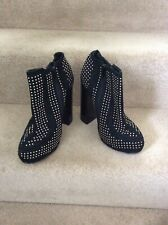 TOPSHOP Premium Black Suede Stone Detail Chunky Ankle Boots, UK Size 5
