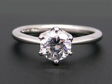 Platinum Round Diamond Engagement Promise Ring Semi Mounting Solitaire Size 6.5