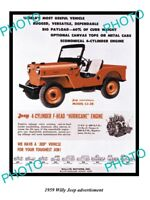 OLD LARGE HISTORIC PHOTO OF 1949 WILLYS JEEP ADVERTISMENT