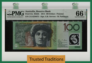 TT PK 61e 2014 AUSTRALIA RESERVE BANK 100 DOLLARS PMG 66 EPQ GEM UNCIRCULATED!