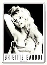 Retro Tin Metal Postcard 'BRIGITTE BARDOT' Mini Sign 10x14cm B/W Portrait Print