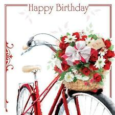HAPPY BIRTHDAY signore bici & fiori in cesto di design Femmina Happy Birthday Carta