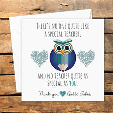 Personalised Thank You Teacher Card Nursery Nurse Male Female Owl Book Special