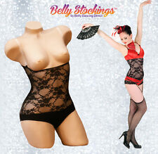 XS Lacy Black Power Mesh Dance Under Wear Tummy Control Belly Cover Tights New
