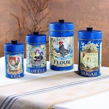 Set Of 4 Tin Food Safe French Country Rooster Canisters Flour Sugar Coffee Tea